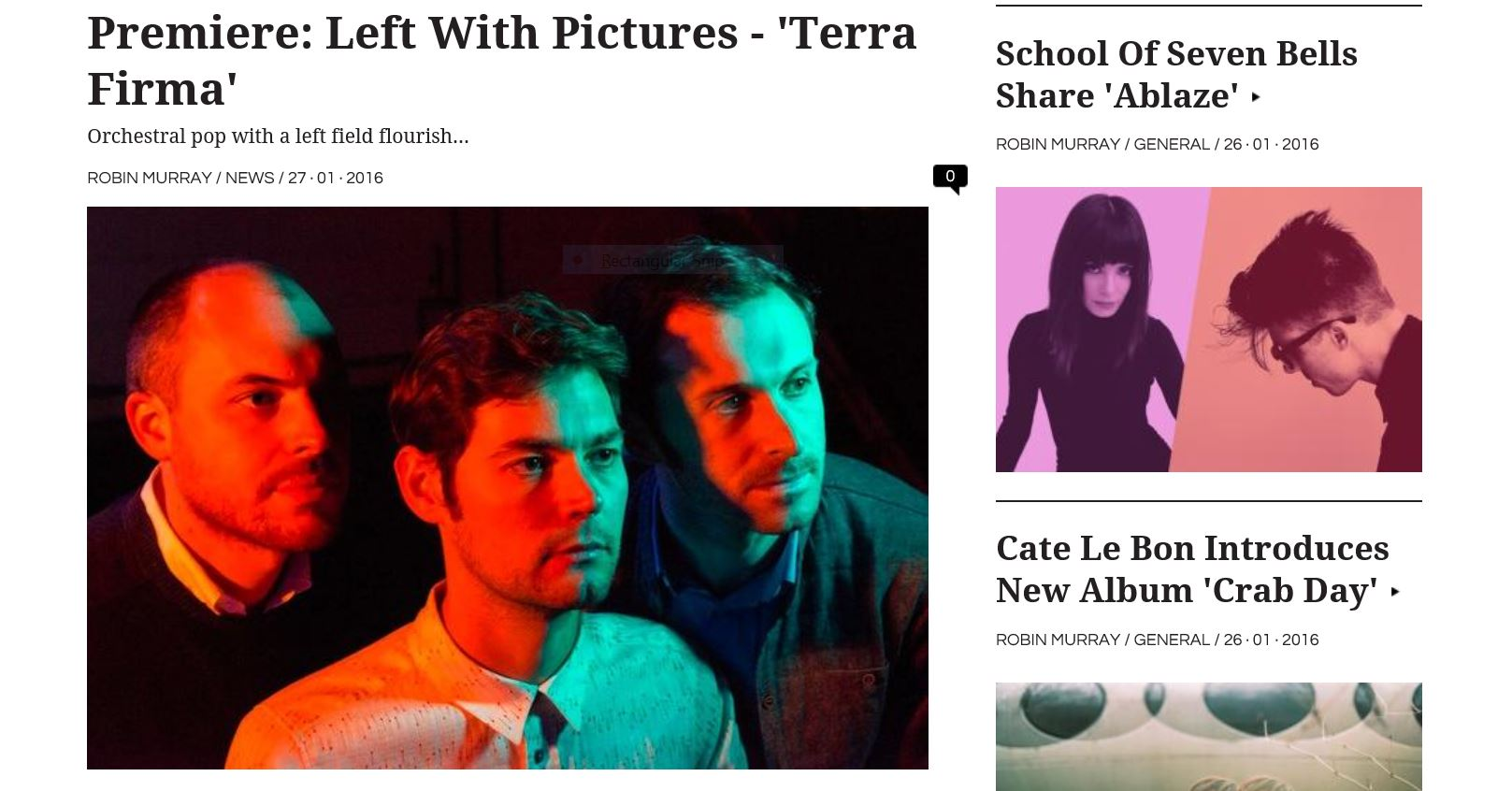 Left With Pictures, Terra Firma, Clash Premiere